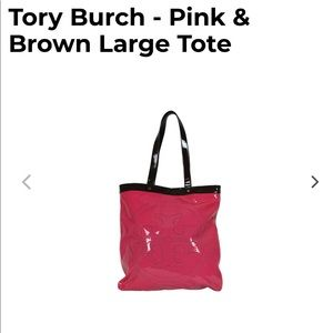 Tory Burch Pink and Brown Tote